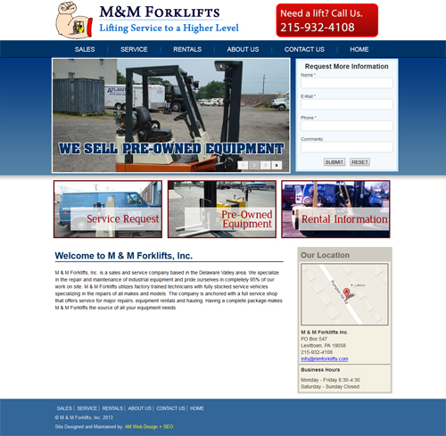 M & M Forklifts Website