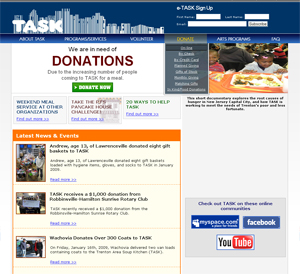 Trenton Area Soup Kitchen Web Site Shot